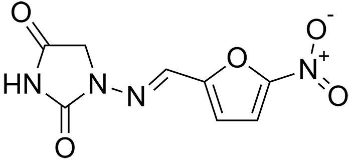 Нитрофурантоин - структурная формула действующего вещества препарата Фурадонин