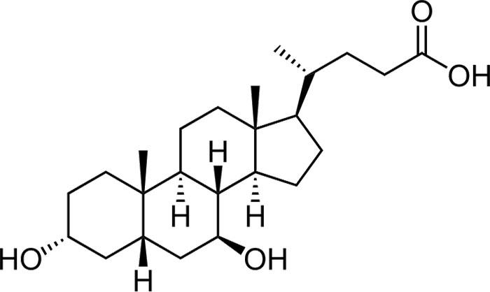 Урсодезоксихолевая кислота -структурная формула действующего вещества препарата Урдокса