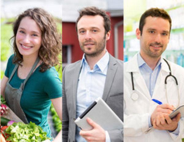 Три фотографии. Женщина - флористка, мужчина - сотрудник компании, мужчина - врач