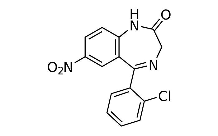 Клоназепам - структурная формула действующего вещества препарата