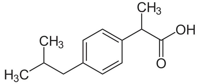 Ибупрофен - формула действующего вещества препарата Нурофен