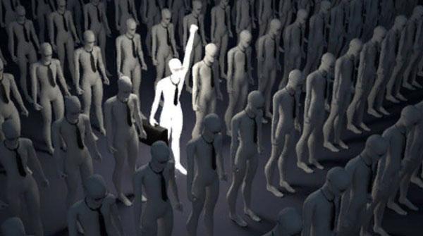 Изображения серых людей. Среди них один белый с поднятой рукой