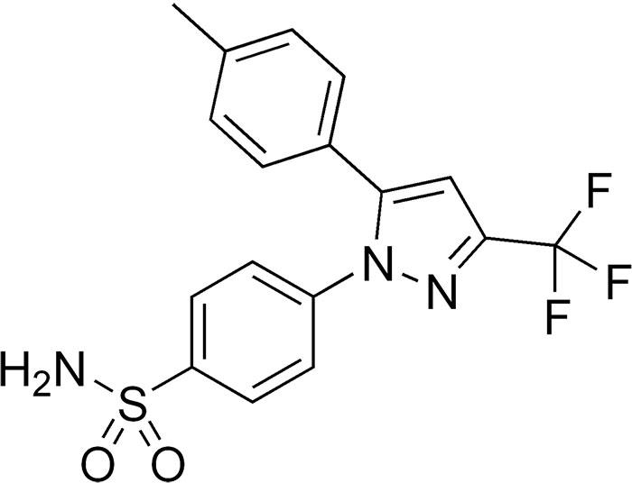 Целекоксиб - структурная формула действующего вещества препарата Целебрекс