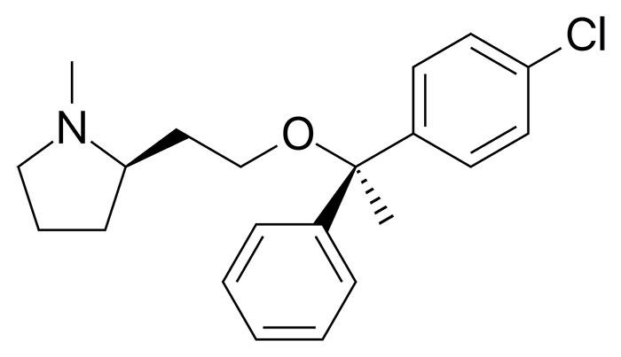 Клемастин - структурная формула действующего вещества препарата Тавегил