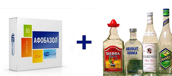 Совместимость Афобазола с алкоголем возможна лишь при малых дозах спиртного