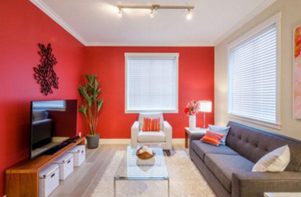 Комната с красной стеной и красными подушками на диване