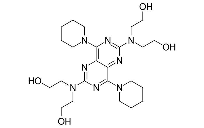 Дипиридамол - структурная формула действующего вещества препарата Курантил