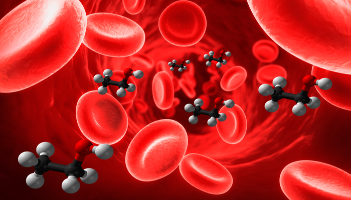 Молекулы алкоголя в крови человека