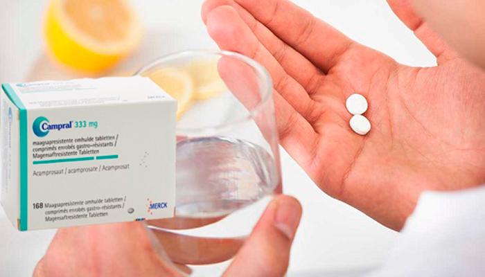 Прием лекарства Акампросат по 2 таблетки 3 раза в день для человека весом больше 60 килограмм