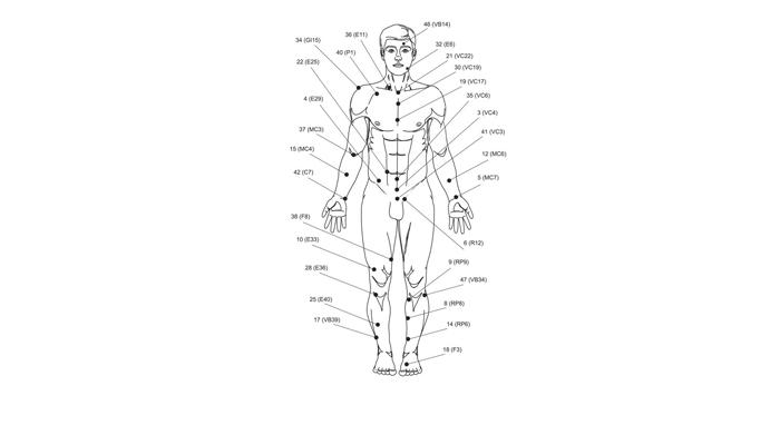 Биологически-активные точки человека для иглоукалывания