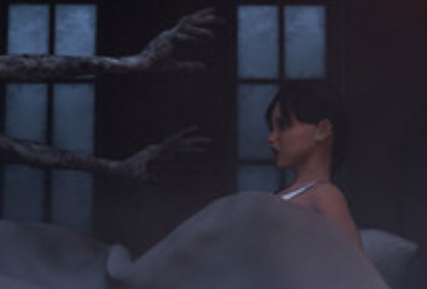 Женщина сидит на кровати. К ней тянутся руки монстра