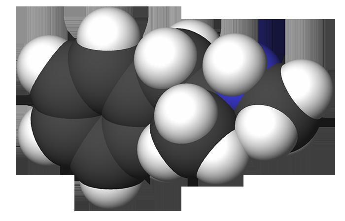 Химическая структурная формула метамфетамина