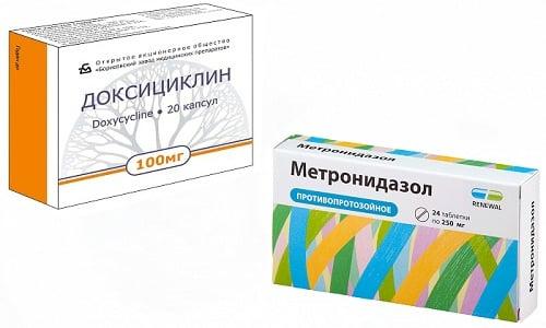Доксициклин и Метронидазол - антибактериальные средства, подавляющие рост патогенной флоры и вызывающие ее гибель