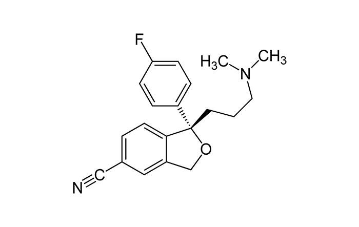 Эсциталопрам - структурная формула активного действующего вещества препарата Ципралекс