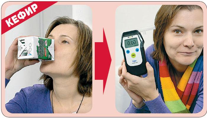 Показатели алкотестера после употребления кефира